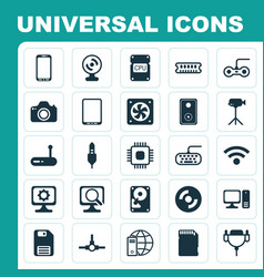 Computer icons set collection of camera vector