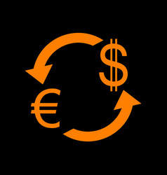 Currency exchange sign euro and us dollar orange vector