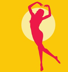 dancing woman silhouette red on yellow vector image vector image