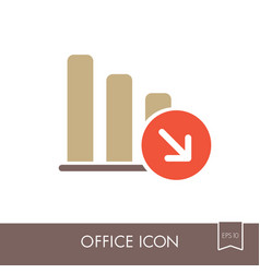 Decrease outline icon office sign vector