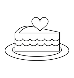 Delicious cake with love heart outline vector
