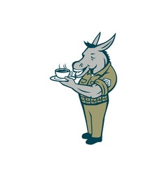 Donkey sergeant army standing drinking coffee vector