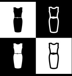 Dress sign black and white vector