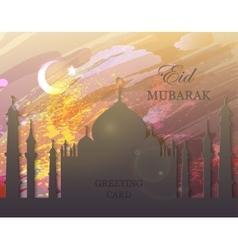 Eid mubarak - watercolor mosque vector