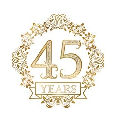 Golden emblem of forty fifth years anniversary in vector
