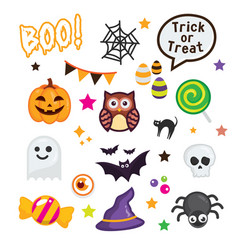 happy halloween elements on white background vector image vector image