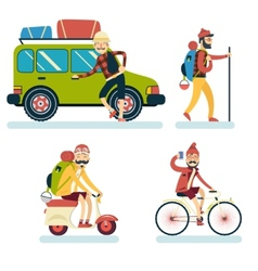 Happy smiling man geek hipster character with car vector