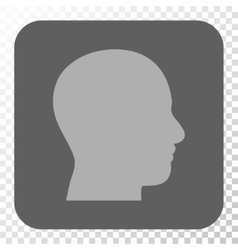 Head Profile Rounded Square Button vector image vector image