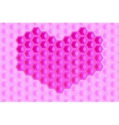 heart shape hexagons background vector image vector image