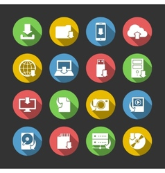 Internet Download Symbols Icons Set vector image vector image
