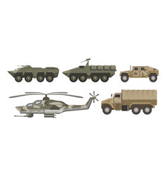 Military transport and army aviation machines vector