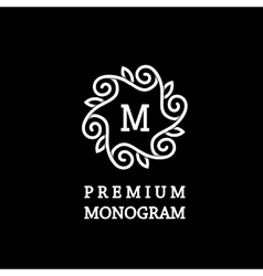 Monogram made of wide white stripes emblem vector image vector image