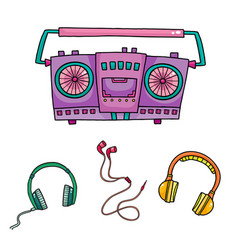 Musical equipment retro tape recorders and vector