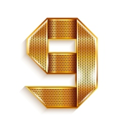 Number metal gold ribbon - 9 - nine vector image vector image