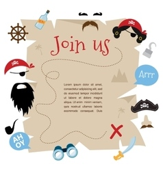 pirate party invitation card design vector image vector image