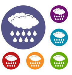 Rain icons set vector