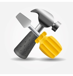 Screwdriver and hammer icon vector image