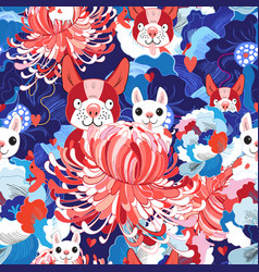 seamless bright floral pattern love puppies vector image vector image