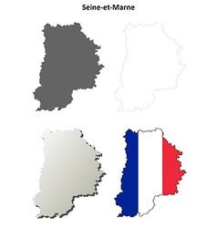 Seine-et-marne ile-de-france outline map set vector