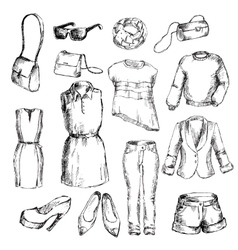 Set of clothes for women vector image vector image