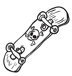 simple black and white skateboard isolated vector image