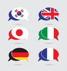 speech bubble set with flag in format vector image