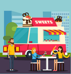 sweets van orthogonal flat composition vector image