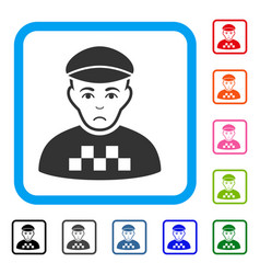 Taxi driver framed unhappy icon vector