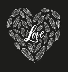 Typography poster lettering love and feathers form vector