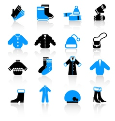 Winter clothes icons vector