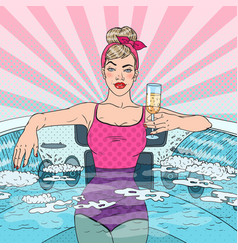 Woman drinking champagne in jacuzzi pop art vector