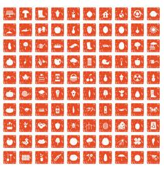 100 garden icons set grunge orange vector