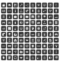 100 web development icons set black vector