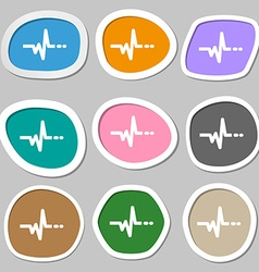 Pulse symbols multicolored paper stickers vector