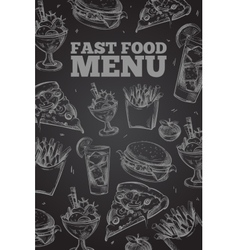 Hand drawn fast food on chalkboard in vector image