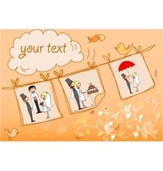 Orange Wedding Card Template vector image