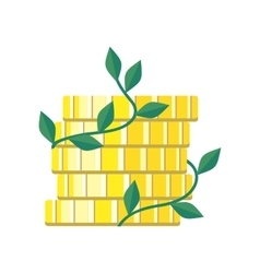 Plant growth from money coin stack isolated vector