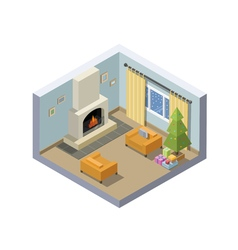 Isometric of christmas eve room decoration vector
