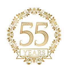 Golden emblem of fifty fifth years anniversary in vector