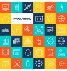 Line programming icons vector