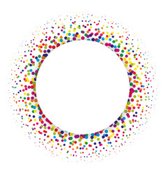 Ring of colorful dots scattered around modern vector