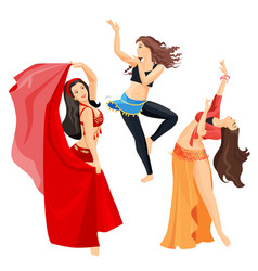 Belly dancers set of girls isolated on white vector
