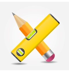 Level and yellow pencil icon vector