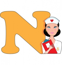 N is for nurse vector image