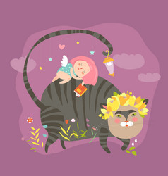 Dreaming girl with for magic cat vector