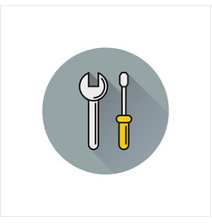 Web line icon wrench and screwdriver vector