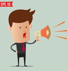 Business man speak on the amplifer - - eps10 vector