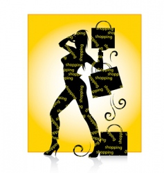 Shopping girl silhouette vector
