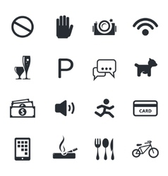 Prohibition icons set vector