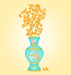 Azure vase with spring flowers forsythia vector
